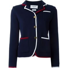 Thom Browne Contrast Trim Blazer ($2,830) ❤ liked on Polyvore featuring outerwear, jackets, blazers, blue, blue blazer jacket, thom browne blazer, thom browne, thom browne jacket and blue jackets