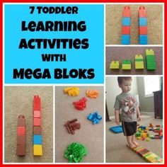 7 Toddler Learning Activities With Mega Bloks. This activity works on color recognition, patterns, comparison, shorter and taller, balance, sequencing. Great for fine motor and gross motor development.