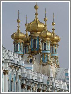 Golden  Domes  Peterhof  Palace.  St. Petersburg, Russia