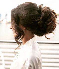 Elegant wavy updo wedding hairstyle; Featured Hairstyle: ElStyle