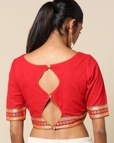38 Simple and Stylish Blouse Back Neck Designs Want to check out simple blouse back neck designs? Here are 38 latest models you can wear with any saree! Blouse Back Neck Designs, Simple Blouse Designs, Stylish Blouse Design, Kurta Designs, Saree Jacket Designs, Sari Design, Designer Kurtis, Designer Gowns, Beautiful