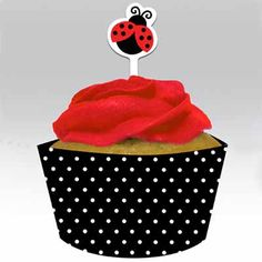 Ladybug Fancy Cupcake Wraps and Picks – 12 sets