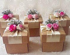 10 селски крафт полза кутия с хартиени цветя, сватба, булчински душ, шаферки, бебе душ, чаено парти кутия за подарък