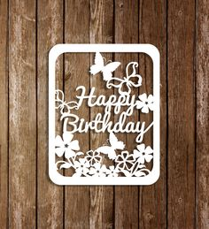 Paper Cutting Template Birtgday Card, Birthday Template, Papercutting Template, PDF SVG Cutting file, DIY Birthday Card, pt-030