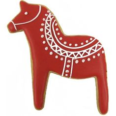 The dala horse is a favorite Swedish symbol for traditional holiday cookies. This stainless steel cutter measures We love the decorating this cookie in traditional red and white patterns. Scandinavian Cookie Cutters, Chocolate Transfer Sheets, Horse Cookies, Cut Out Cookies, Sugar Cookies, Swedish Christmas, Homemade Playdough, Felt Christmas Ornaments, Shaped Cookie