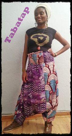 harem pants, mix of two african  fabrics...pink/purple www.etsy.com/shop/Tabatap