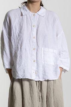 Weiße Leinen-Shirt Leinen Shirt Frauen 3/4 Ärmel Hemd plus