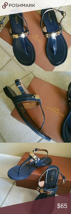 Coach Caterine patent leather navy thong sandals Coach Caterina patent leather midnight blue sandals with gold accents...worn a few times..excellent condition Coach Shoes Sandals