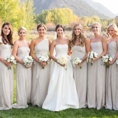 Neutral Bridal Party Attire //  Ira Lippke Studios // http://www.theknot.com/weddings/album/a-romantic-outdoor-wedding-in-aspen-co-136580