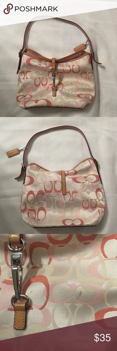 Coach bag Signature coach bag in pink and white, lightly worn. One small stain to front of bag as shown in picture and one small pen mark in front of bag as shown. Strap is clean and in great condition. Comes with coach bag for storage. Please make an offer :) 👛 Bags Shoulder Bags