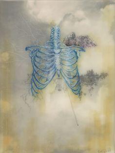 Brooks Shane Salzwedel: Blue Bones / PNE (2013) graphite, tape, color pencil on mylar on panel