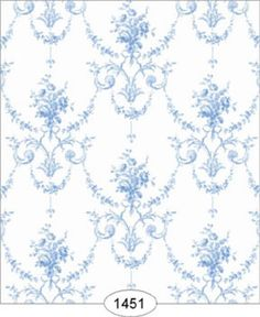 "Dollhouse Wallpaper ""Princess Toile Blue""  #DollhousesandMore"