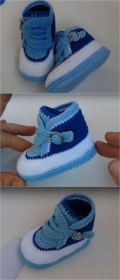 Crochet stylish tennis shoes for baby we love crochet tricot baby crochet love shoes stylish tennis tricot crochet simple bow in 10 minutes Crochet Baby Sandals, Crochet Baby Boots, Booties Crochet, Crochet Shoes, Crochet Slippers, Baby Booties, Hat Crochet, Crochet Crafts, Baby Tennis Shoes