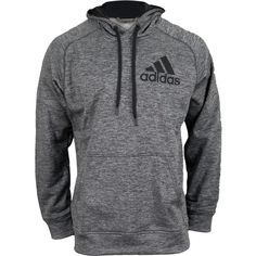 adidas Men`s Pullover Hoodie Dark Gray Heather ($45) ❤ liked on Polyvore featuring men's fashion, men's clothing, men's hoodies and sweatshirt