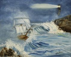 The Ship Original Seascape Oil Painting by MarieParsonsArt on Etsy, $275.00