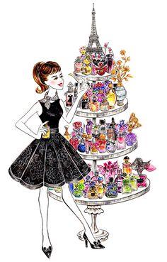 Lifestyle(series) - Sunny Gu - Perfume Lover in Paris. Art - Fashion Illustration.