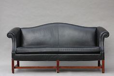 Vintage Chippendale Style Leather Camelback Sofa Hollywood Regency Modern
