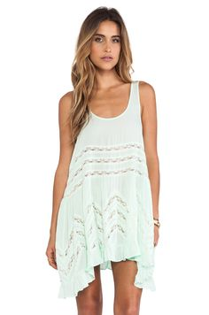 Free People Voile and Lace Trapeze Slip in Spring Green from REVOLVEclothing