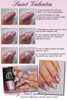 Valentine heart and lace nail art tutorial ~ by Cherry Nail Art Lace Nail Art, Lace Nails, Pink Nails, Valentine Heart, Valentines, Cherry Nail Art, Nail Techniques, Nail Decorations, Nail Art Hacks