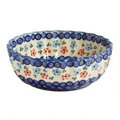 Watercolor Flowers Large Fluted Serving Bowl | Christmas Tree ...