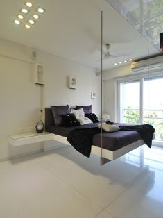 Hanging bed ideas modern home tv in bedroom Tv In Bedroom, Room Decor Bedroom, Bedroom Bed Design, White Bedroom, Suspended Bed, Hanging Beds, Hanging Furniture, Hanging Chairs, Floating Bed