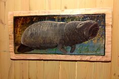 """Manatee Painting 32"""" home decor wall art on reclaimed wood sea cow indoor outdoor detailed home centerpiece coastal living beach accent by oceanarts10 on Etsy"""