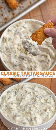 Classic Tartar Sauce made with just a few ingredients and in just a few minutes, you'll free up space on your fridge door and never buy bottled sauce again! dinner fish Easy Tartar Sauce (BETTER than bottled in 2 mins!) - Dinner, then Dessert Sauce Recipes, Fish Recipes, Seafood Recipes, Appetizer Recipes, Dinner Recipes, Cooking Recipes, Seafood Appetizers, Recipies, Appetizers For A Crowd
