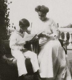"""Empress Alexandra Feodorovna of Russia and her only son, Tsarevich Alexei Nikolaevich Romanov of Russia at Livadia.  """"AL"""""""