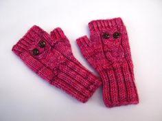 Fingerless Gloves Owl for Toddlers Pink Mittens von frostpfoetchen