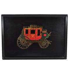 Mid Century Couroc Red Stagecoach Tray. Vintage Barware and glassware available at TheHourShop.com