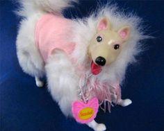 Barbie Pet Dog Snowball 1990 Mattel Wearing Sweater Name Tag Excellent #Mattel