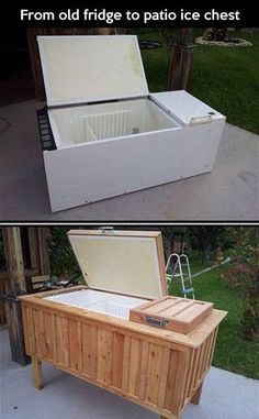 Old Refrigerator Repurposed To Patio Ice Chest! Old Refrigerator Repurposed To Patio Ice Chest! Patio Cooler, Outdoor Cooler, Outdoor Seating, Unusual Furniture, Diy Furniture, Upcycled Furniture, Furniture Projects, Furniture Showroom, Wicker Furniture