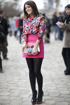 Sweet florals and a pretty palette feel fresh against black tights, PFW