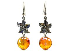Use coupon 10OFFTLBCJ for 10%OFF on $10.00 or more Use coupon 20OFFTLBCJ for 20%OFF on $20.00 or more --- Free Shipping Jewelry SALE Handmade Beaded Glass Crystal Orange Antique Silver Metal Flower Unique Fashion Dangle Earrings (Item # LBE026) by TheLoveBabyCompany on Etsy