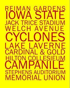 Iowa State Cyclone Print 8 x 10 by LolasLaboratory on Etsy, $10.00