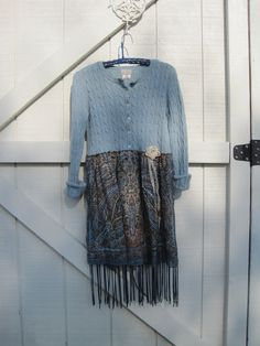 Boho Tunic dress, mini ranch dress, Prairie dress, mini sweater dress small upcycled eco friendlyReady to ship. $44.00, via Etsy.