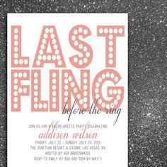 Bachelorette Party or Shower Invitation - Last Fling Before the Ring  (set of 30). $38.50, via Etsy.
