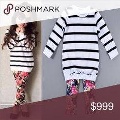 "🎉HP🎉 Trendy Outfit Adorable striped top and floral leggings!! Nice top that's longer style. The 3T top measures 18"" long and 11"" wide. Leggings are super stretchy and silky with a 16"" inseam. Top is a little narrow, pants on the long side IMO. Additional sizes available upon request. New with tags from wholesale vendor. Love this set!!❤️ Matching Sets"