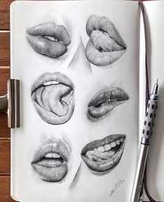 Sketchbook drawing of lips mouth close up I Pencil Art idea I drawing realistic . Portrait Sketches, Art Drawings Sketches Simple, Pencil Art Drawings, Realistic Drawings, Drawings Of Faces, Easy Drawings, Pencil Sketch Portrait, Drawing Portraits, Mouth Drawing