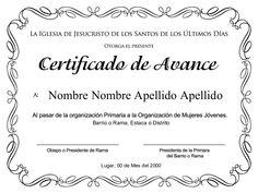 certificado-de-avance-de-la-primaria-para-nias by Primaria Estaca Los Ángeles Monterrey, México via Slideshare