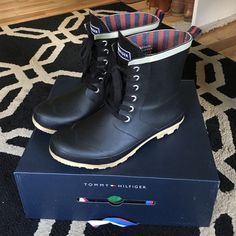 Tommy Hilfiger Winter/Rain Booties Worn only twice in the winter! Perfect condition & so cute for winter or fall! Lace ties in the front, but super easy to slip on. No scratches or damage. 100% authentic Tommy Hilfiger. Bought at Macy's Tommy Hilfiger Shoes Winter & Rain Boots