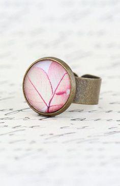 Leaf Ring Nature Ring Pink Leaf Photo Ring