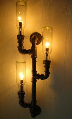 Pipe lamp. Industrial lighting. Wall light. Steampunk lamp. Repurposed bottle lamp.
