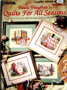 "Cross Stitch Book,""Quilts For All Seasons"" by Leisure Art.. A vintage Cross Stitch Book By Paula Vaughn 12 Cross Stitch Quilts!//On SPECIAL!"