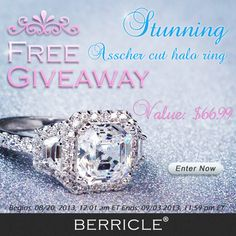 New giveaway is here, enter to WIN this stunning asscher cut halo ring now! - Berricle.com #asscherring #haloengagementring  #berricle