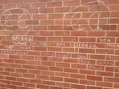 The children learnt spelling patterns by writing in a chalk on the school wall today. Spelling Patterns, Classroom Displays, Learning Environments, Kids Learning, Neon Signs, Writing, Children, Creative, Kids