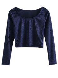 SHARE & Get it FREE   Scoop Neck Velvet Cropped T ShirtFor Fashion Lovers only:80,000+ Items • New Arrivals Daily • Affordable Casual to Chic for Every Occasion Join Sammydress: Get YOUR $50 NOW!