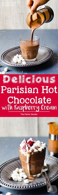Parisian Hot Chocolate with Raspberry Whipped Cream - Only 3 ingredients to make this thick, luscious deep flavored hot chocolate, and topped with raspberry whipped cream. Enjoy hot chocolate, the way the French do!