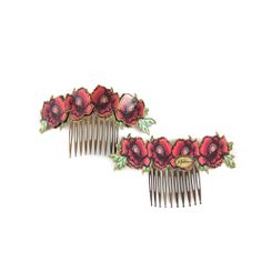 Pack de dos peinecillos de flamenca realizados sobre esmalte veneciano en relieve en tonos rojizos. Serie 'Gitanillas'.