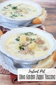 This Instant Pot Olive Garden Zuppa Toscana is restaurant quality at home! The delicious Instant Pot soup is filled with sausage, bacon, garlic, kale, and cream - serve with crusty bread!